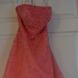 Coral Strapless Prom Dress